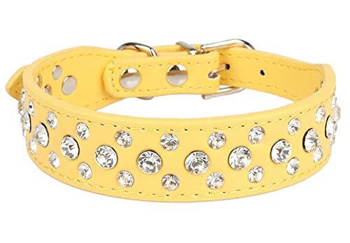 Ltong Rhinestone Dog Collar Legering Diamond Puppy Pet Cat Collar Collars Riemen voor kleine honden Mascotas Accessoires, geel, S