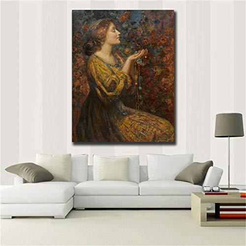 YB Royal olieverfschilderij HD bedrukt mooie foto's dames 50cm x 75cm No Frame