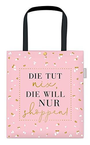Grafik-Werkstatt Damen Baumwoll-Beutel mit lustigem Spruch Tasche mit Verschluss | Shoppen, Rosa, ca. 39 x 44 cm ohne Henkel