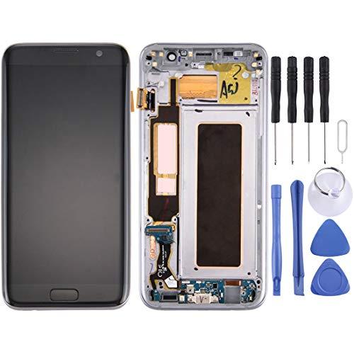 Glass LCD-scherm En Digitizer Volledige Vergadering Met Frame En Opladen Port Board & Volume Knop & Power-knop For Galaxy S7 Edge / G9350 (zwart) Reparatie (Color : Black)