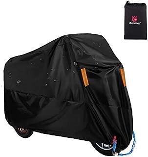 Rosefray バイク車体カバー 厚手 高品質210Dオックス生地 撥水 風飛び防止 防塵 耐熱 UVカット 鍵穴付 バイクカバー専用収納ケース付き(XLサイズ,改良型)