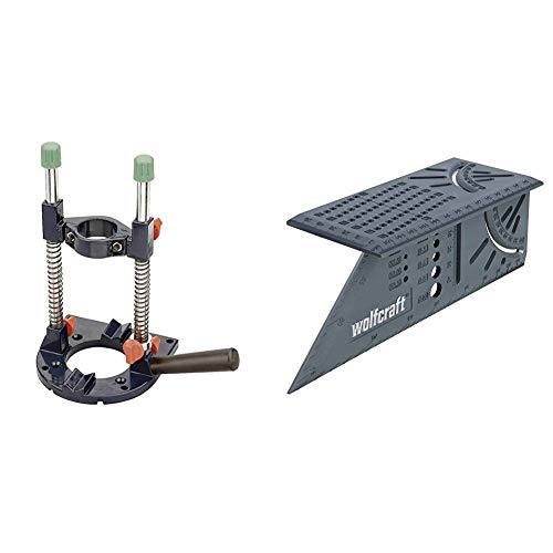 kwb Bohrmaschinen-Ständer Bohrmobil für Bohrmaschine und Akkuschrauber, Bohrständer mit 43 mm Eurospannhals & Wolfcraft 5208000 3D-Gehrungswinkel, 150 x 275 x 66 mm