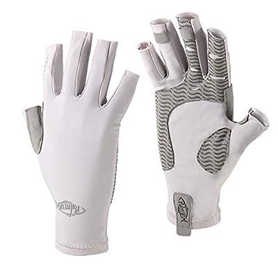 Palmyth UV Protection Fishing Fingerless Gloves UPF50+ Sun Gloves Men Women for Kayaking, Hiking, Paddling, Driving, Canoeing, Rowing (Light Gray, Medium)