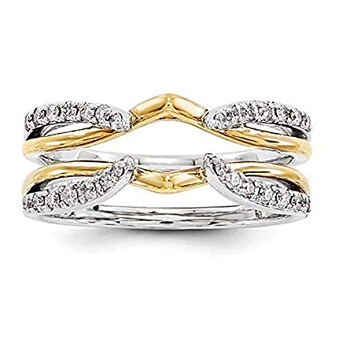 Silver Gems Factory 1/4 ct Simulated Diamond Enhancer Solitaire Engagement Ring 14k Two Tone Gold Plated Guard Wrap Jacket (7) (0.25 Ct Gems)