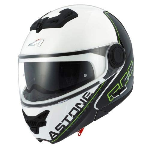 Astone Helmets - RT800 graphic exclusive LINETEK - Casque de moto modulable - Casque de moto 2 en 1 - Casque polyvalent route et ville - Casque en polycarbonate - green/white XS