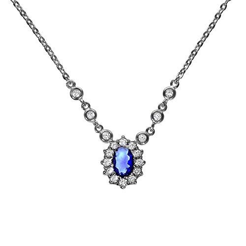 Zeeme Collana da donna in argento sterling 925 rodiato, con zirconi blu taglio ovale, 45 cm, 025250112