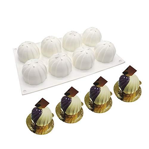 xiaoshenlu Moule à gâteau en Silicone - 3D Moule de Bricolage Fait à la Main de Cuisson, 8 Trous Boules de Tourbillon