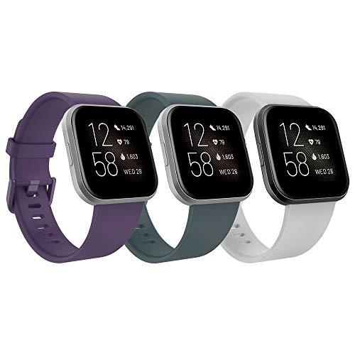 TiMOVO Armband für Fitbit Versa/Versa Lite/Versa 2, [3 Stücke] Silikon Replacement Uhrenarmband Sportarmband Band Erstatzband mit Schließe, Groß - Cyan & Violett & Grau