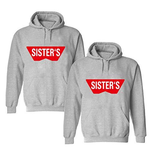 Daisy for U  Beste Freunde Pullover für Zwei Mädchen Best Friends Hoodie BFF Pullover Sister Kapuzenpullover Damen Pulli Geburtstagsgeschenk, 3XL, Grau