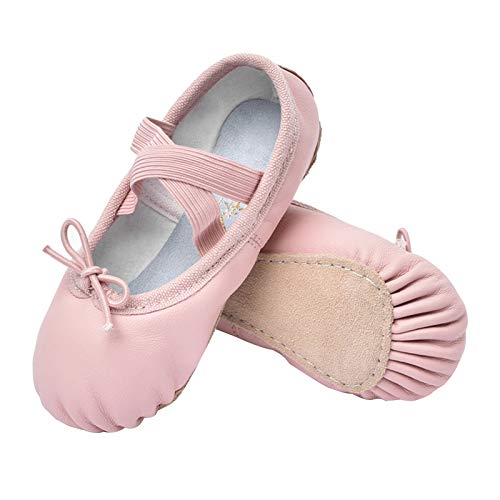 STELLE Girls Premium Leather Ballet Shoes Slippers for Kids Toddler (3ML, Pink)