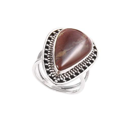 Anillo de plata de ley 925|Anillo de piedras preciosas de Ágata natural para mujer|Anillo de diseño turco para niñas|Anillo de compromiso, Anillo de Ágata|Tamaño del anillo 14.5