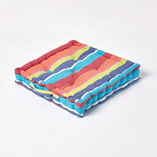 HOMESCAPES - Multi coloured Stripe - Floor Cushion - 100% Cotton - 40 x 40 x 8 cm Square - Indoor - Outdoor - Arm Chair Booster Garden Seat Cushion Pad