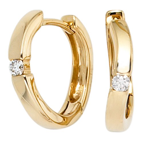 JOBO Creolen 585 Gelbgold 2 Diamant-Brillanten 0,08ct. Gold-Ohrringe