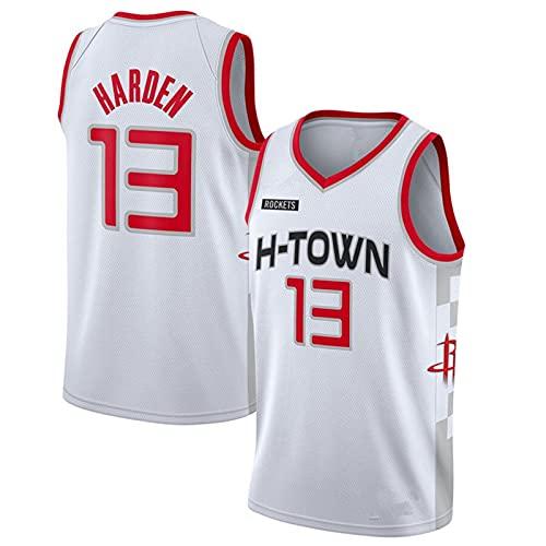 YXST Camiseta De Baloncesto NBA Cohete # 13#0 Malla Bordada De PoliéSter Top,RéPlica De Jugador De Baloncesto Secado RáPido Y Transpirable,White13,S