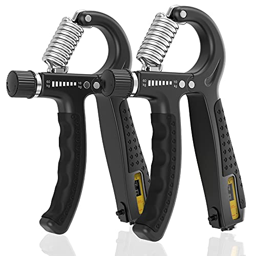 ALMAH Hand Grip Strengthener 2 Pack, Grip Strength Trainer Adjustable Resistance 10-60kg Forearm gripper strengthener, Hand Exerciser for Muscle Building and Injury Recovery for Athletes.