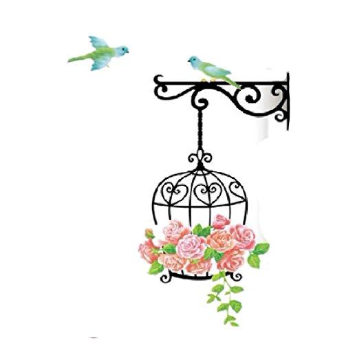 joyliveCY 55 * 85Cm Cage Flower Bird Handdrawing Decal DIY Art Vinyl Wall Sticker Pvc Decor Mural