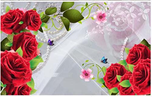 Papel De Pared 3D Papel De Pared Rosa Roja Flor Joyería Mariposa Hermoso Paisaje Papel Pintado Pared Tela No Tejida Fotomurales Salón Dormitorio 200x140cm