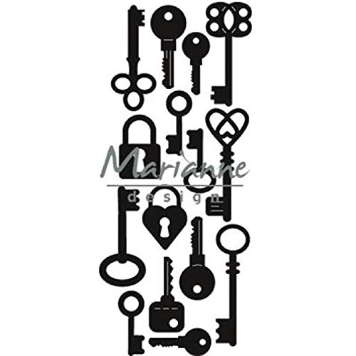Marianne Design Craftables Präge-und Stanzschablone, Herzformen, für Handwerksprojekte, Metall, Silber, 3,9 x 8,9 cm