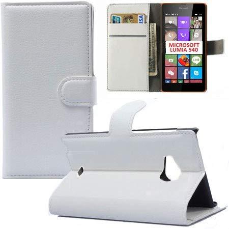 COMPATIBILE MICROSOFT Lumia 540 Dual Sim Custodia Simil-Pelle Bianca Orientamento Orizzontale Book a Libro con Stand e Tasche Porta Carte di Credito/Patente Chiusura Magnetica
