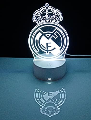 Lámpara decorativa mesita de noche escudo del Real Madrid ❤️ lámpara de mesa táctil futbol ilusión óptica 3d para regalo (Real Madrid)