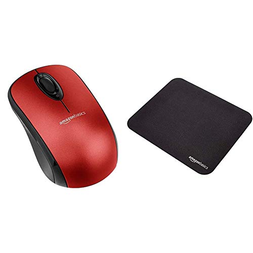 AmazonBasics Wireless Mouse with Nano Receiver - Red & Mini Gaming Mouse Pad