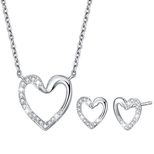 Sterling Silver Jewellery Sets for Women, Heart Swan Pendant Necklace & Heart Swan Earrings with Sparkle AAA Cubic Zirconia