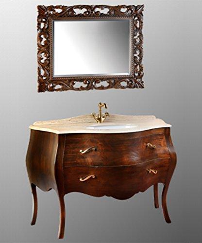 Meuble salle de bain à terre classique royale noyer, mesure cm 130
