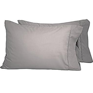 Bare Home Premium 1800 Ultra-Soft Microfiber Pillowcase Set - Double Brushed - Hypoallergenic - Wrinkle Resistant (Standard Pillowcase Set of 2, Light Grey)