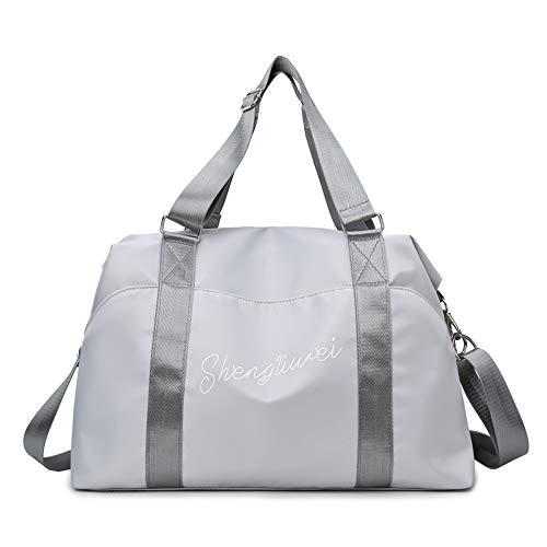 lingqing Sac pour tapis de yoga, grand sac de sport, sac de voyage, étanche, avec compartiment à chaussures, compartiment humide pour femme, pour la plage, les loisirs, le sport, gris clair, M