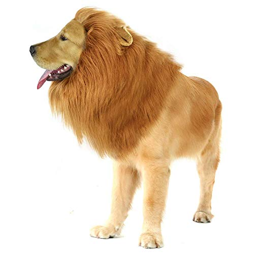 Pasking Dog Lion Mane - Lion Mane Wig Costumes for Medium to Large Sized Dog with Ears & Tail Funny Lion Hair for Holiday Halloween Christmas Photo Shoots Party