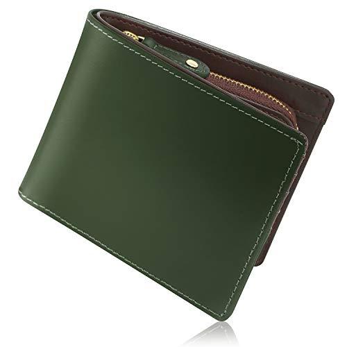 [Xviita](エクスビータ) 財布 メンズ 二つ折り 財布 本革 イタリアンレザー メデュセオラックス 品質証明書 人気商品 小銭入れ カード入れ YKKファスナー 上質 こだわり抜いた美しさ 緑 (ダークグリーン)