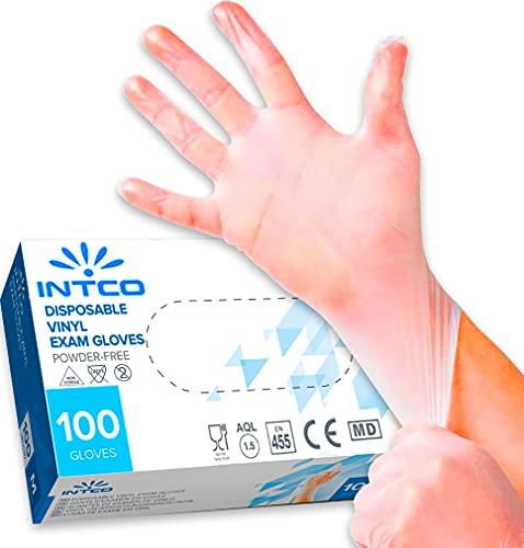 100 guantes de vinilo M sin polvo, sin látex, hipoalergénicos, certificados CE transparentes según EN455 y EN374 desechables