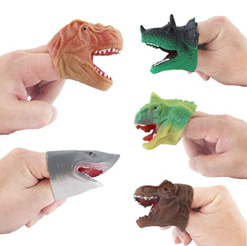 Auch 5Pcs Realistic Dinosaur Finger Puppets Role Playing Toys Party Supplies Birthday Gift for Kids and Adults Great Party Favors