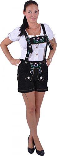 Almwerk Damen Trachten Lederhose Modell Blümli in braun, schwarz, rot und grün, Größe Damen:XL - Größe 42;Farbe:Schwarz