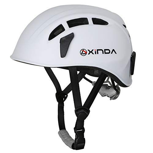 Heemtle Casco de Seguridad Escalada en árbol Caving Espeleología Kayak Rappel Rescue Hard Hat 5 Colores Opcionales (Ajustable: 52-62 cm)