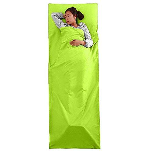 GOGOGO Multi-fonctionnel Sac de Couchage Rectangulaire en Polyester (210 x 75 cm) & poche(22 * 27 cm) - Doux et confortable - commode pour voyager, camper, l'hôtel Vert