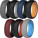 ThunderFit Men Breathable Air Grooves Silicone Wedding Ring Wedding Bands 8mm - 7 Rings (Combination B, Size9.5 - 10 (19.8mm)