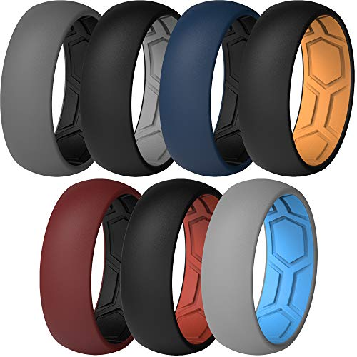 ThunderFit Men Breathable Air Grooves Silicone Wedding Ring Wedding Bands 8mm - 7 Rings (Combination B, Size11.5 - 12 (21.3mm)