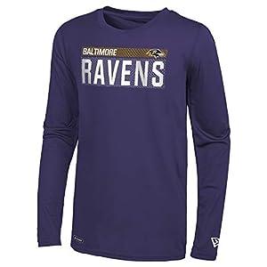 New Era NFL Men's Measured Dri-Tek Long Sleeve Tee, Baltimore Ravens Purple Large