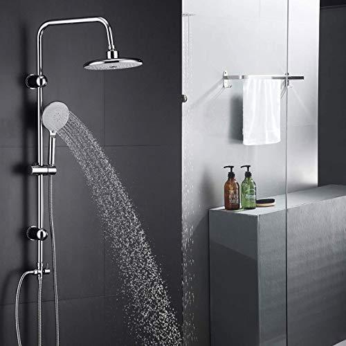 Edelstahl Handbrause Duscharmatur Regendusche Duschset Duschgarnitur Duschstange,mit 3 Strahlarten höhenverstellbare
