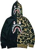 Bape Shark Sudadera Hombre Camuflaje con Cabeza de Tiburón Contraste de Color Hip Hop Tops(M,Negro verdel)