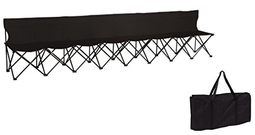 Trademark Innovations Portable 8-Seater Folding Team Sports Sideline Bench with Back (Black)
