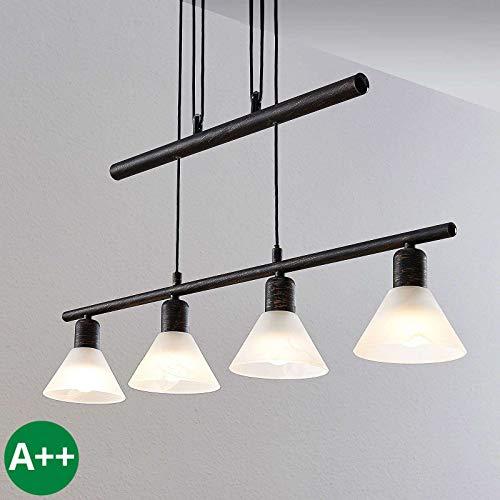 Lindby Pendelleuchte 'Delira' dimmbar (Landhaus, Vintage, Rustikal) in Schwarz aus Metall u.a. für Wohnzimmer & Esszimmer (4 flammig, E14, A++) - Deckenlampe, Esstischlampe, Hängelampe, Hängeleuchte