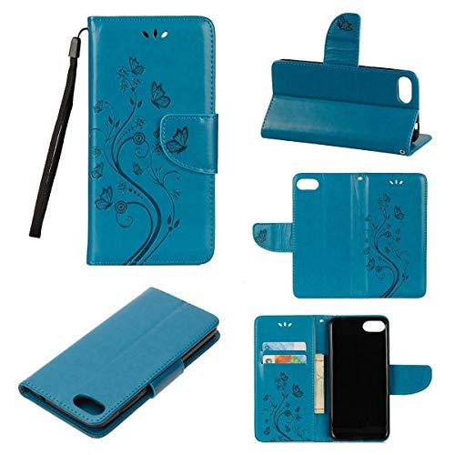 JEEXIA® Schutzhülle Für Asus Zenfone 4 Max ZC520KL (5.2zoll), Retro PU Lederhülle Flip Cover Brieftasche Innenschlitzen Mit Stand Schmetterling Gras Muster - Blau