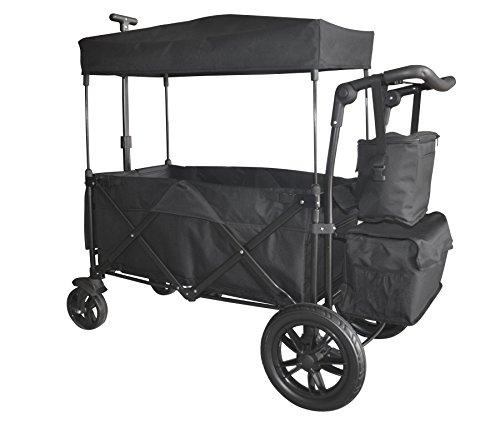 Black Push and Pull Handle/Foot Brake Folding Wagon Baby Stroller...