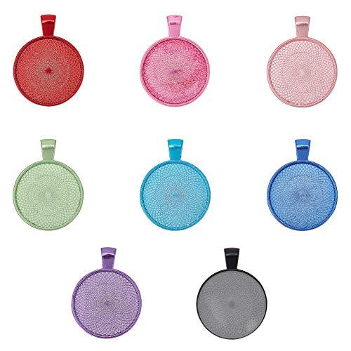 PandaHall Juego de 32 bandejas colgantes, 8 colores 32 piezas colgantes en blanco Biseles Base Cabujón con 32 piezas de cristal Cabujones Clear Dome Azulejos para hacer fotos joyas
