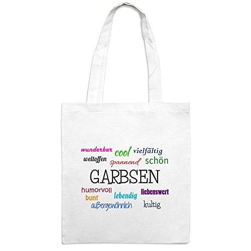 Jutebeutel mit Stadtnamen Garbsen - Motiv Positive Eigenschaften - Farbe weiß – Stoffbeutel, Jutesack, Hipster, Beutel