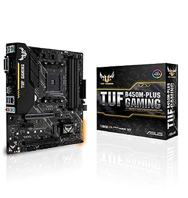 ASUS TUF Gaming B450M-PLUS Micro ATX Motherboard, AMD Socket AM4, AM4, Ryzen 3000 Ready, PCIe 3.0, M.2, DDR4, LAN, HDMI, DVI-D, USB 3.1, Aura Sync RGB