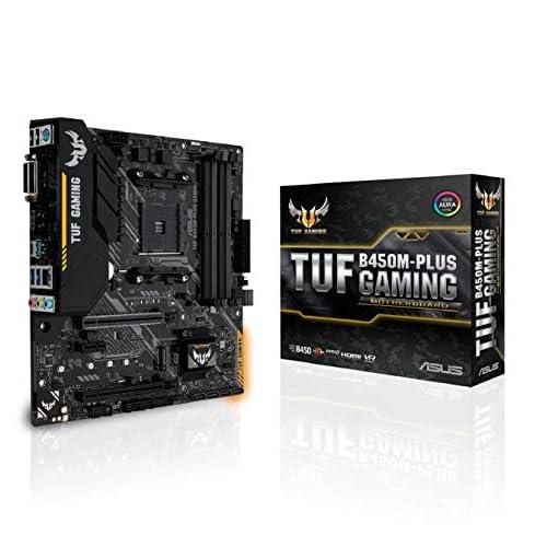 ASUS TUF B450M-PLUS Gaming Scheda Madre Gaming AMD B450 mATX con Illuminazione a LED Aura Sync RGB, Supporto DDR4 3466MHz, 32 Gbps M.2, HDMI 2.0b, Type C e USB 3.1 Gen 2 Nativo