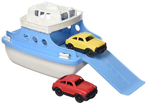 Green Toys Ferry Boat, Blue/White CB - Pretend Play, Motor Skills, Kids Bath Toy Floating Vehicle. No BPA, phthalates, PVC. Dishwasher Safe, Recycled Plastic, Made in USA.